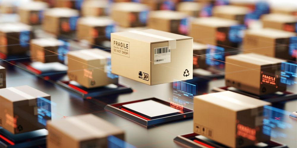 Packages,Are,Transported,In,High-tech,Settings,online,Shopping,concept,Of,Automatic,Logistics