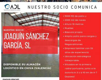 """ADL informa """"Disponible en Chiva (Valencia) nave logística para alquiler"""""""